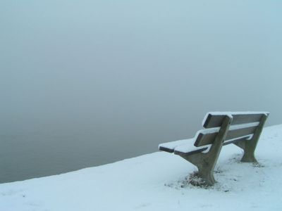 A bench in the snow by the river Maas